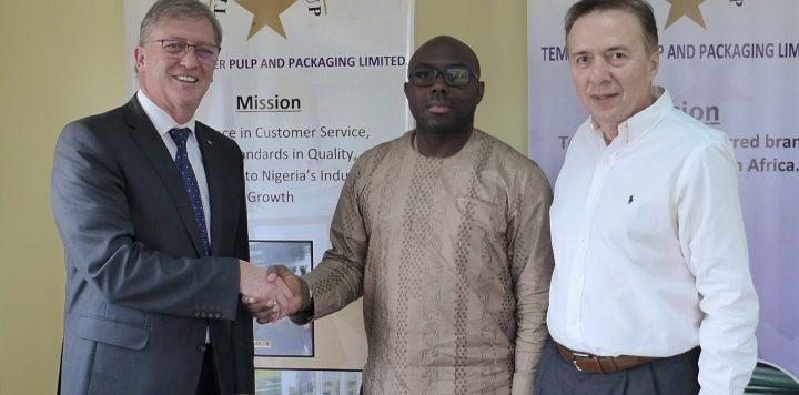 Happy to continue their BOPP Films partnership: Dr. Seun Obasanjo, CEO of the Tempo Group (center), Tempo Group's Deputy Managing Director Nassos Sidirofagis (right), Johann Hausbacher, Head of Sales Africa & GCC, Brückner Maschinenbau (left)